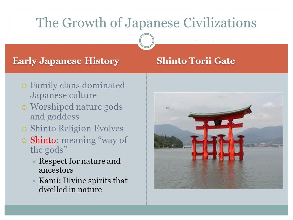 Early Japanese History Shinto Torii Gate  Family clans dominated Japanese culture  Worshiped nature gods and goddess  Shinto Religion Evolves  Shinto: meaning way of the gods  Respect for nature and ancestors  Kami: Divine spirits that dwelled in nature The Growth of Japanese Civilizations