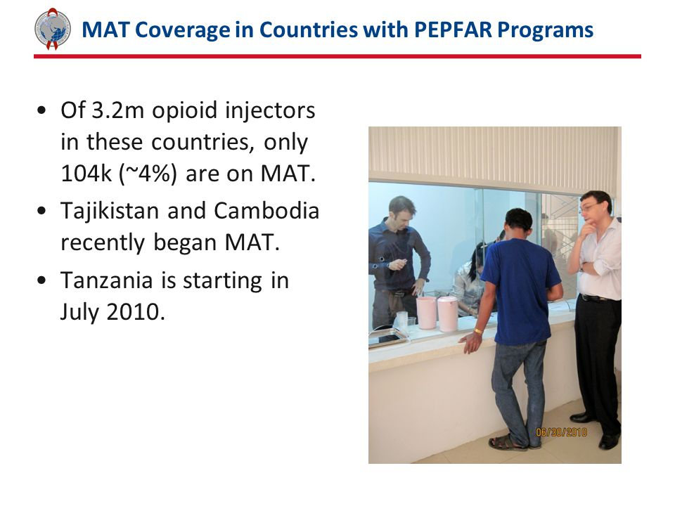 MAT Coverage in Countries with PEPFAR Programs Of 3.2m opioid injectors in these countries, only 104k (~4%) are on MAT.