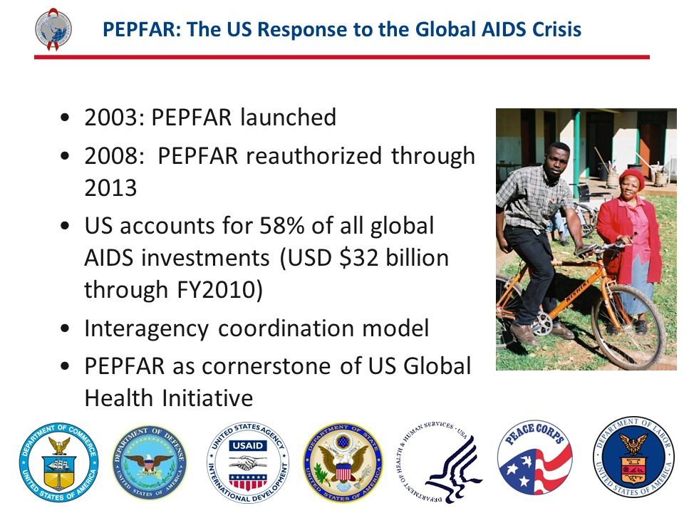 PEPFAR: The US Response to the Global AIDS Crisis 2003: PEPFAR launched 2008: PEPFAR reauthorized through 2013 US accounts for 58% of all global AIDS investments (USD $32 billion through FY2010) Interagency coordination model PEPFAR as cornerstone of US Global Health Initiative