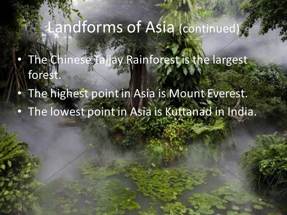 Landforms of Asia (continued) The Chinese Tajjay Rainforest is the largest forest. The highest point in Asia is Mount Everest. The lowest point in Asi
