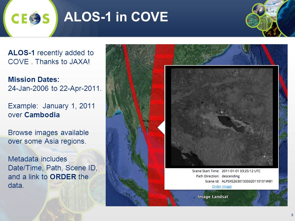 8 ALOS-1 in COVE ALOS-1 recently added to COVE. Thanks to JAXA.