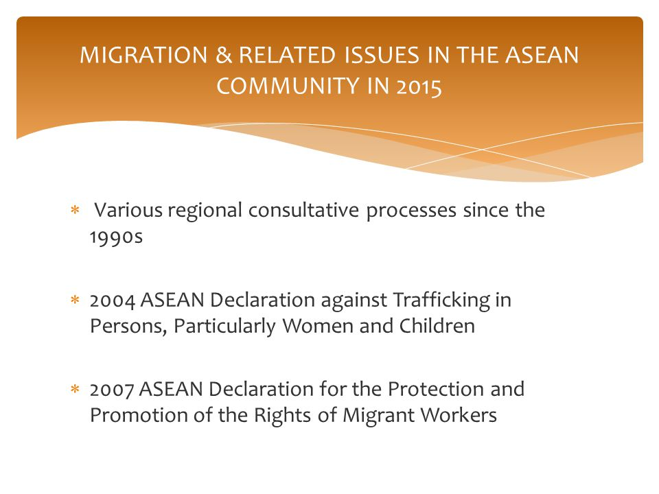 ASEAN Economic Community (AEC) The AEC shall be the goal of regional economic integration by 2015. Key characteristics: a single, market and production base; a highly economically competitive region; a region of equitable economic development; and a region fully integrated in the global economy. The AEC will transform ASEAN into a region with free movement of goods, services, investment, skilled labour, and freer flow of capital Mobility via visa-free arrangements had been in place for many years ASEAN Socio-Cultural Community (ASCC) The primary goal of the ASCC is to contribute to realising an ASEAN Community that is people-centred and socially responsible with a view to achieving enduring solidarity and unity among the nations and peoples of ASEAN by forging a common identity and building a caring and sharing society which is inclusive and harmonious where the well-being, livelihood, and welfare of the peoples are enhanced.