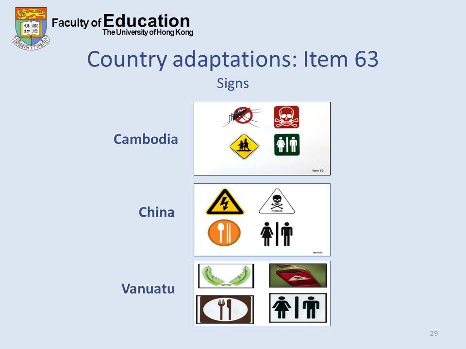 Faculty of Education The University of Hong Kong Country adaptations: Item 63 Signs 29 Cambodia China Vanuatu