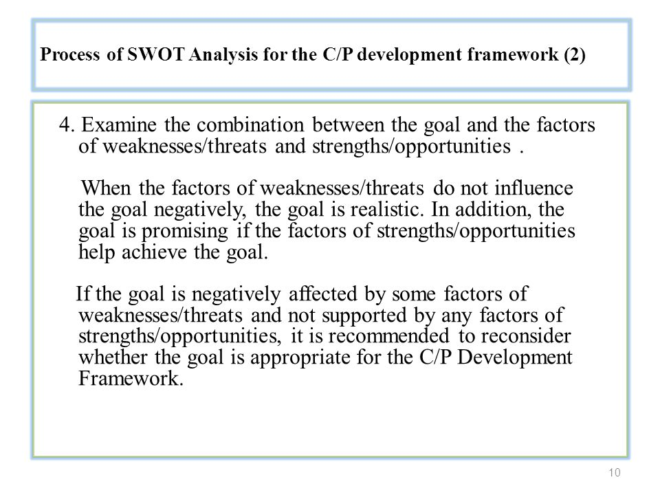 10 Process of SWOT Analysis for the C/P development framework (2) 4.