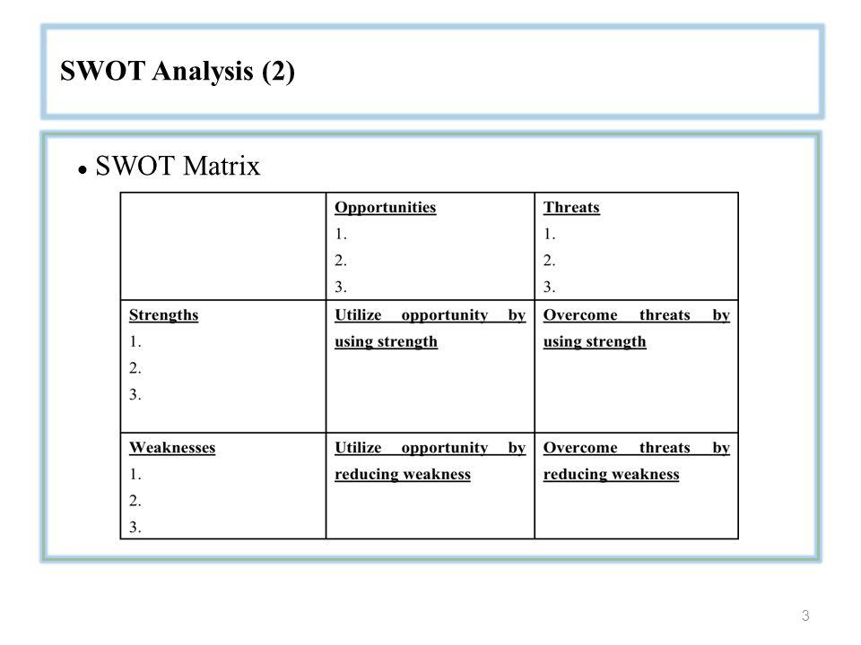 3 SWOT Analysis (2) SWOT Matrix