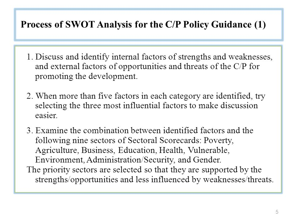 5 Process of SWOT Analysis for the C/P Policy Guidance (1) 1.