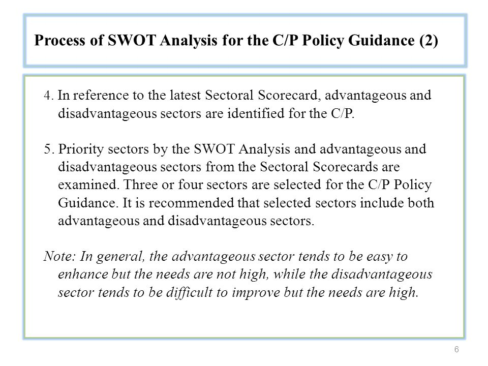 6 Process of SWOT Analysis for the C/P Policy Guidance (2) 4.