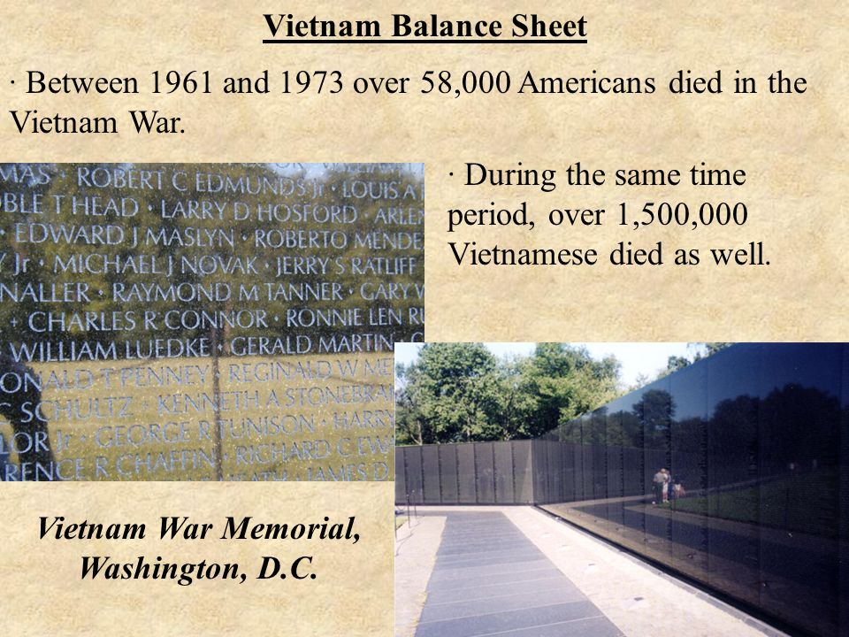 · Between 1961 and 1973 over 58,000 Americans died in the Vietnam War.
