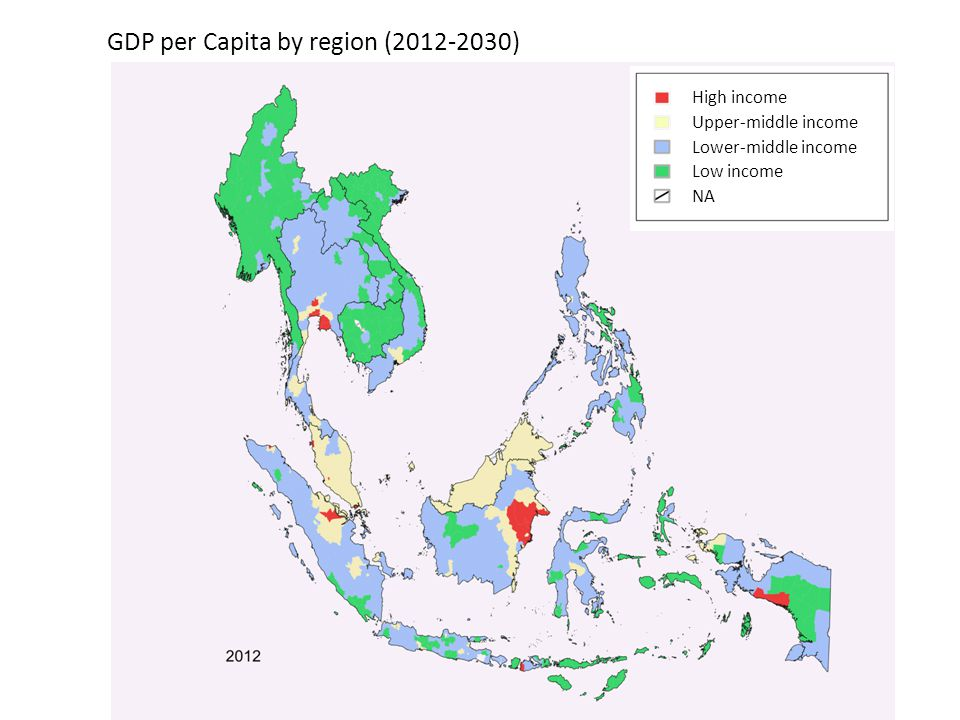 High income Upper-middle income Lower-middle income Low income NA GDP per Capita by region (2012-2030)
