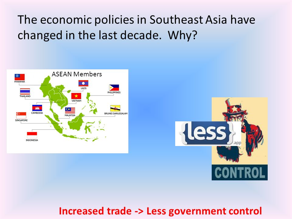 The economic policies in Southeast Asia have changed in the last decade. Why? ASEAN Members Increased trade -> Less government control