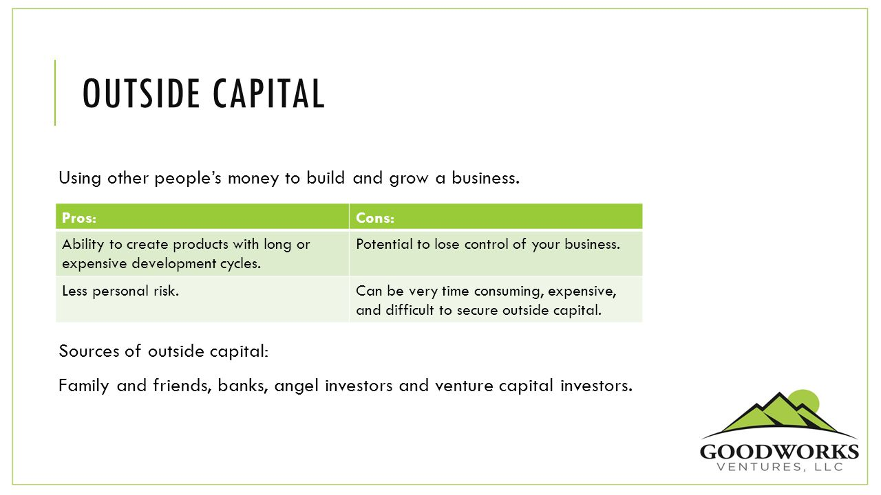 OUTSIDE CAPITAL Using other people's money to build and grow a business.