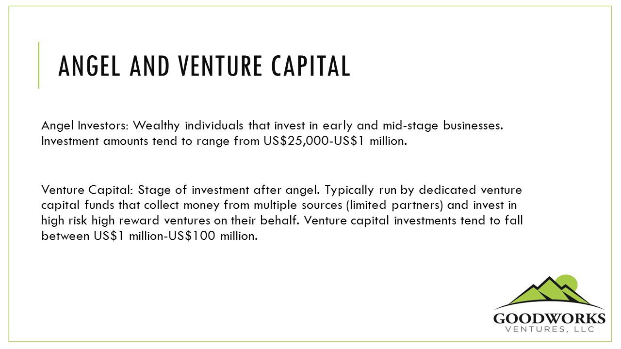 ANGEL AND VENTURE CAPITAL Angel Investors: Wealthy individuals that invest in early and mid-stage businesses. Investment amounts tend to range from US