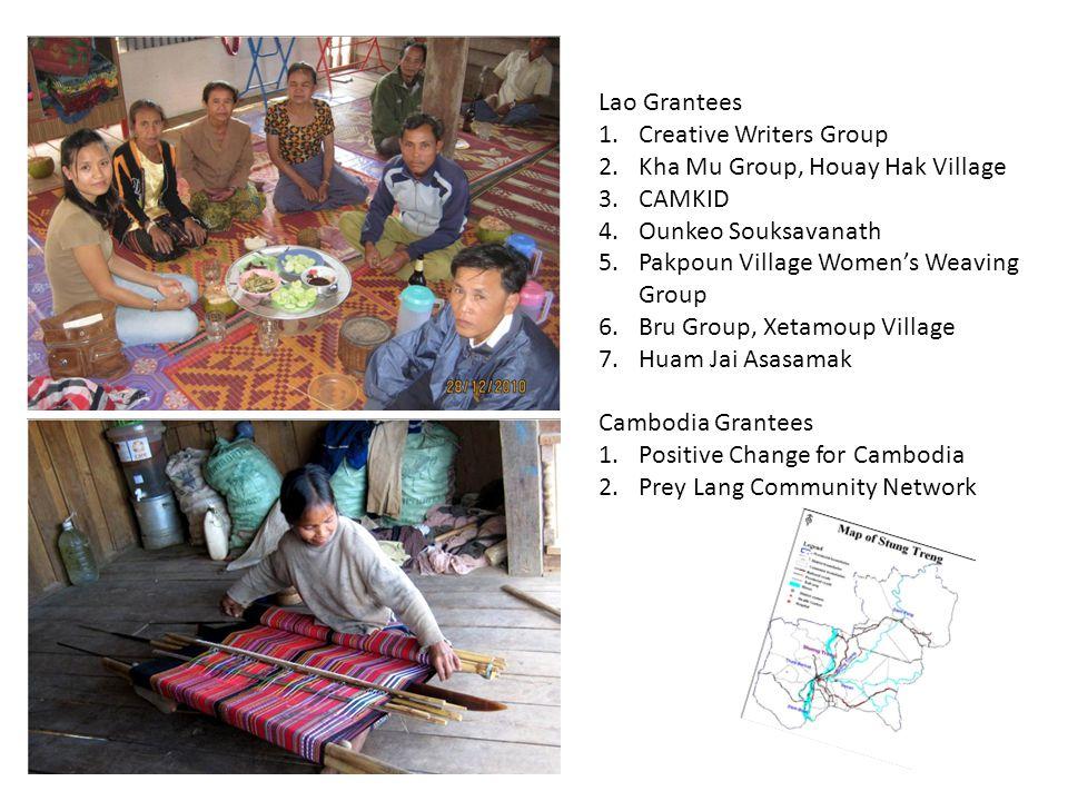 Lao Grantees 1.Creative Writers Group 2.Kha Mu Group, Houay Hak Village 3.CAMKID 4.Ounkeo Souksavanath 5.Pakpoun Village Women's Weaving Group 6.Bru Group, Xetamoup Village 7.Huam Jai Asasamak Cambodia Grantees 1.Positive Change for Cambodia 2.Prey Lang Community Network