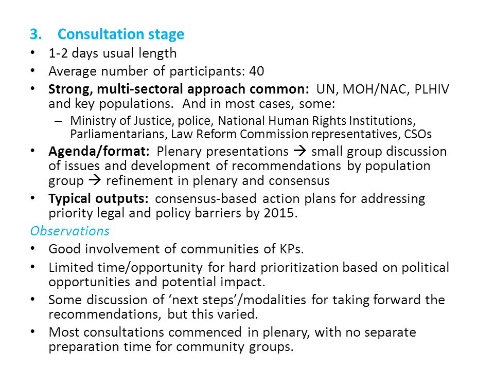 3.Consultation stage 1-2 days usual length Average number of participants: 40 Strong, multi-sectoral approach common: UN, MOH/NAC, PLHIV and key populations.