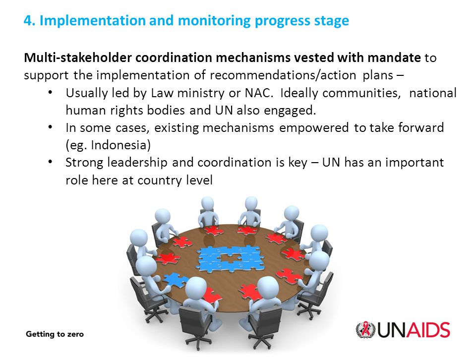 4. Implementation and monitoring progress stage Multi-stakeholder coordination mechanisms vested with mandate to support the implementation of recomme