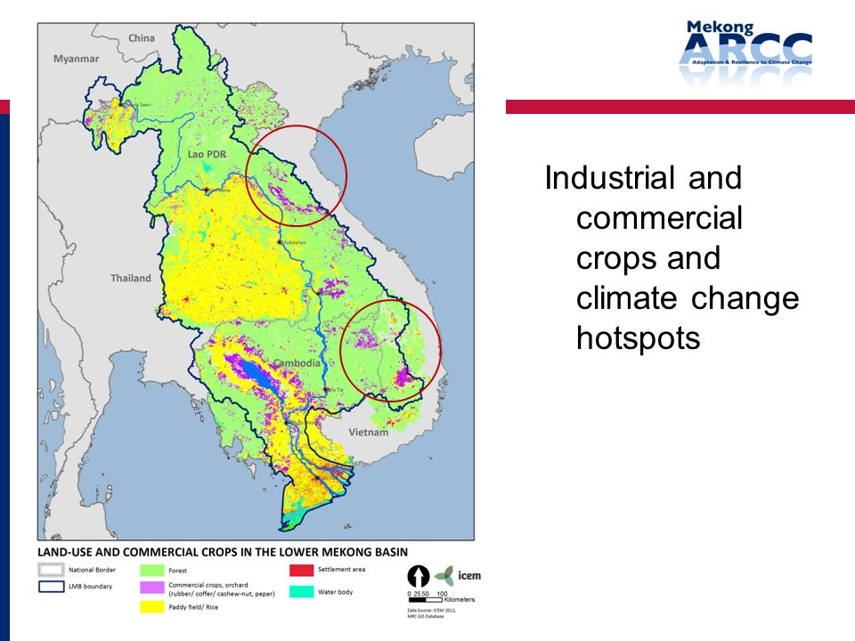 Industrial and commercial crops and climate change hotspots