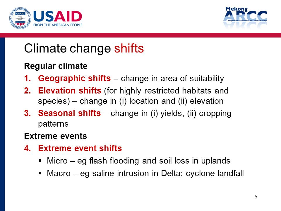 Climate change shifts Regular climate 1.Geographic shifts – change in area of suitability 2.Elevation shifts (for highly restricted habitats and speci