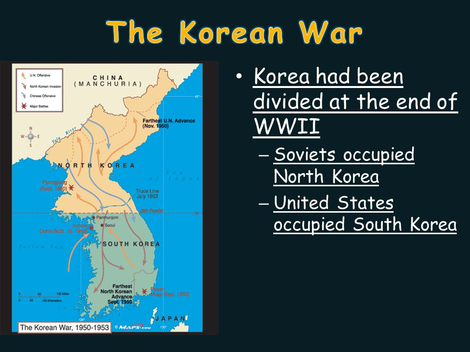 Korea had been divided at the end of WWII – Soviets occupied North Korea – United States occupied South Korea