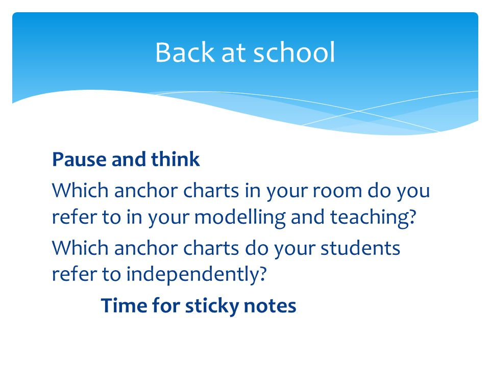 Pause and think Which anchor charts in your room do you refer to in your modelling and teaching? Which anchor charts do your students refer to indepen