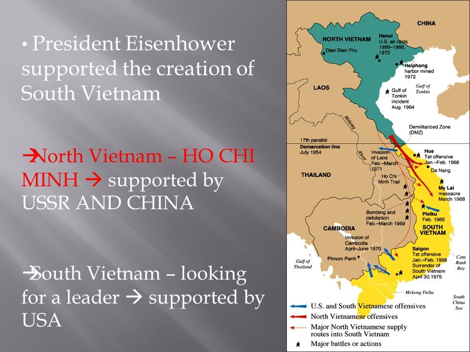  North Vietnam – HO CHI MINH  supported by USSR AND CHINA  South Vietnam – looking for a leader  supported by USA President Eisenhower supported t