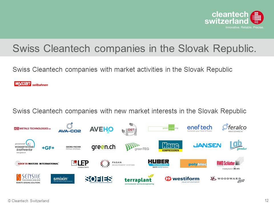 12 © Cleantech Switzerland Swiss Cleantech companies in the Slovak Republic.