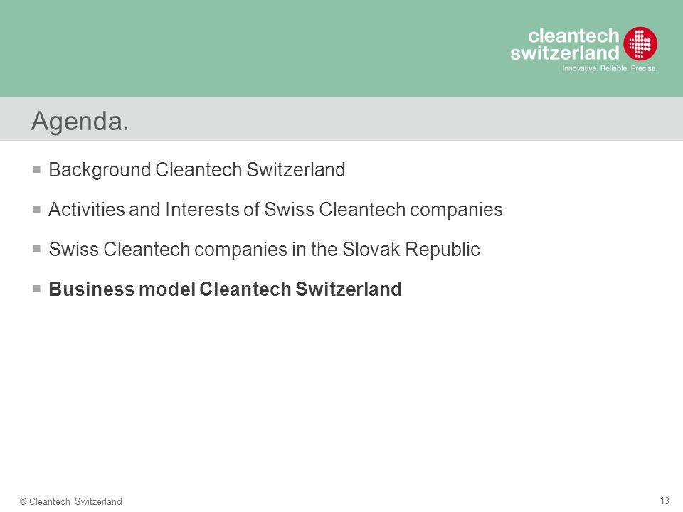 13 © Cleantech Switzerland Agenda.