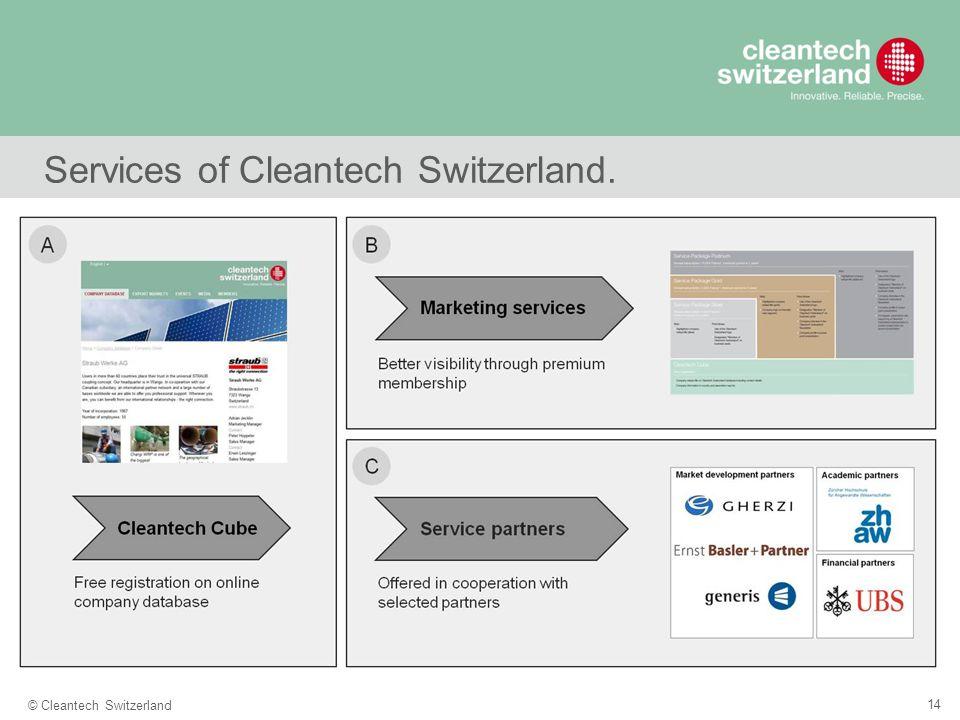 14 © Cleantech Switzerland Services of Cleantech Switzerland.