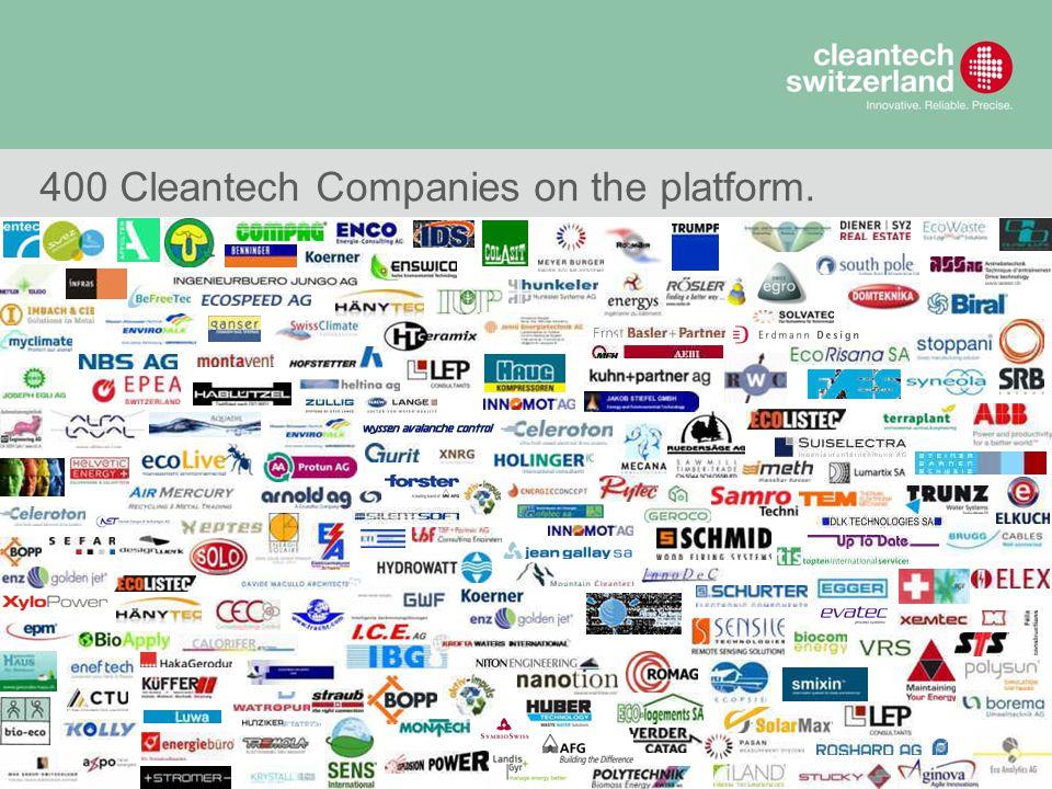 7 © Cleantech Switzerland 400 Cleantech Companies on the platform.