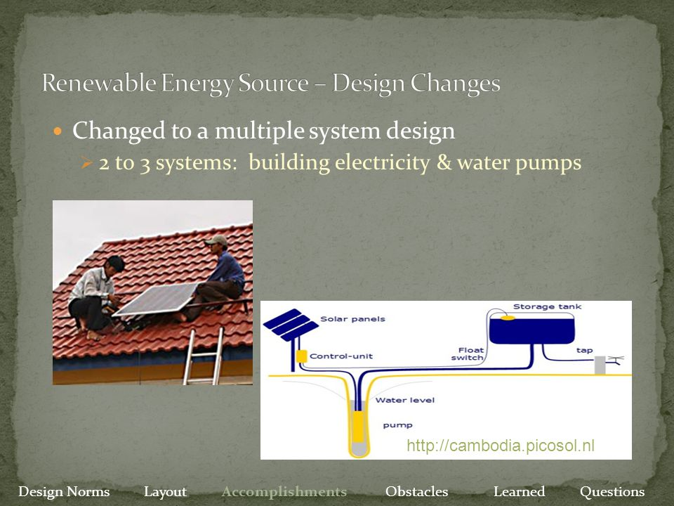 Changed to a multiple system design  2 to 3 systems: building electricity & water pumps Design Norms Layout Accomplishments Obstacles Learned Questio