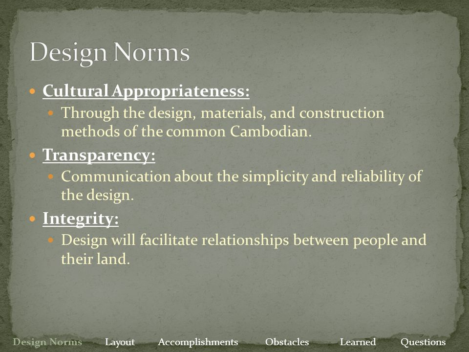 Obstacles Have Overcome Site Data Local vendors for system components Preliminary design Design Norms Layout Accomplishments Obstacles Learned Questions Obstacles to Overcome More modeling of designs Final master plan design