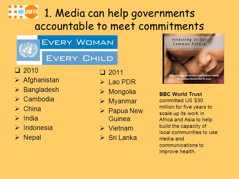 1. Media can help governments accountable to meet commitments  2010  Afghanistan  Bangladesh  Cambodia  China  India  Indonesia  Nepal  2011