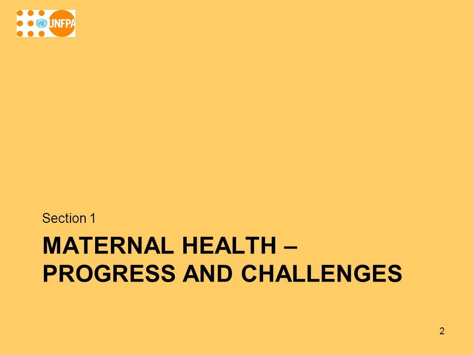 MATERNAL HEALTH – PROGRESS AND CHALLENGES Section 1 2