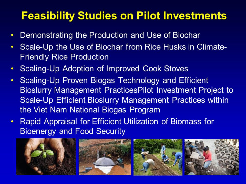Feasibility Studies on Pilot Investments Demonstrating the Production and Use of Biochar Scale-Up the Use of Biochar from Rice Husks in Climate- Frien