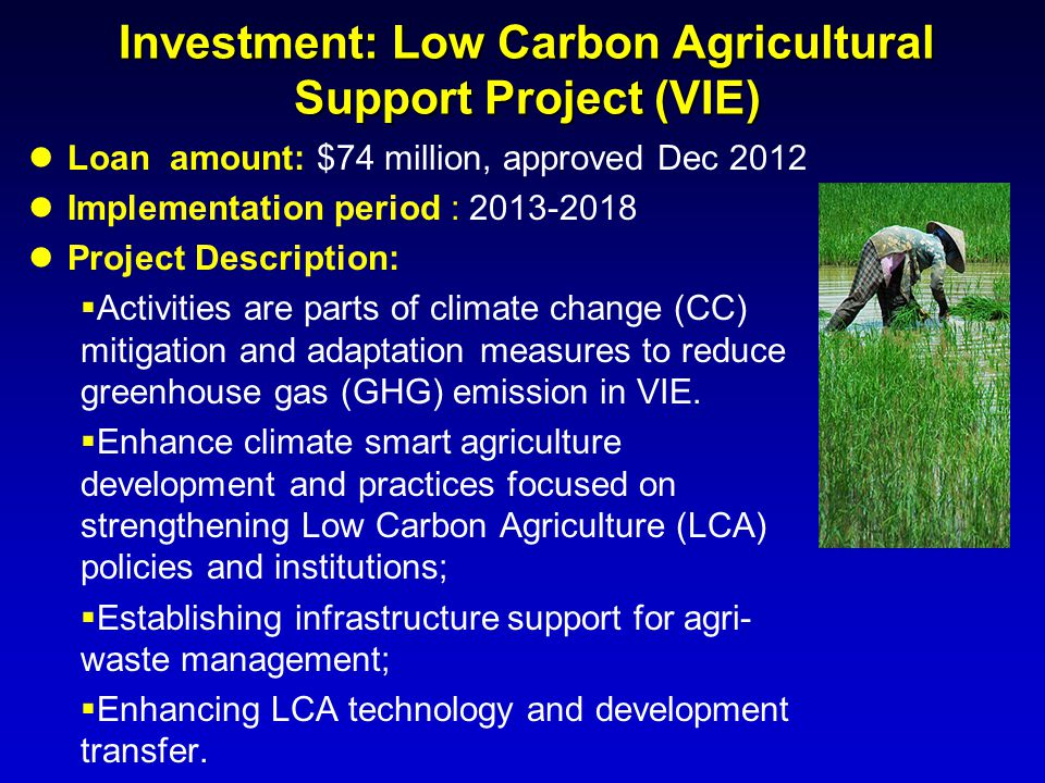 Investment: Low Carbon Agricultural Support Project (VIE) Loan amount: $74 million, approved Dec 2012 Implementation period : 2013-2018 Project Descri