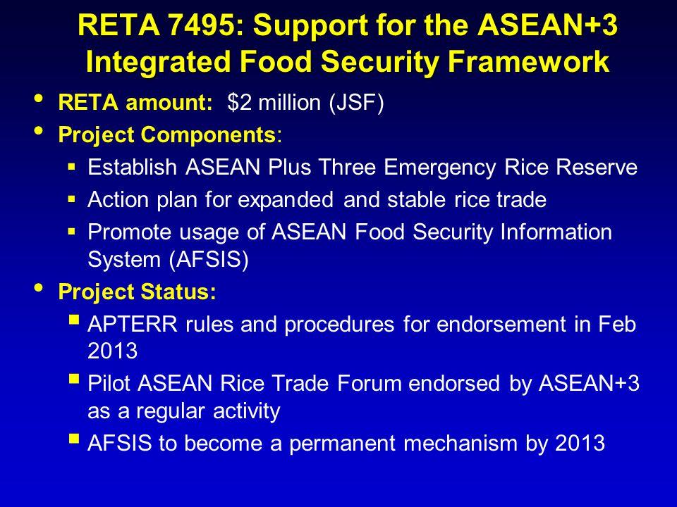 RETA 7495: Support for the ASEAN+3 Integrated Food Security Framework RETA amount: $2 million (JSF) Project Components:  Establish ASEAN Plus Three E