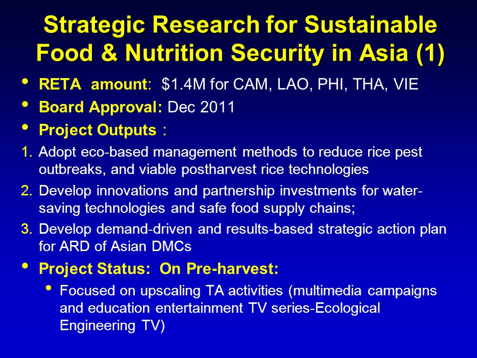 Strategic Research for Sustainable Food & Nutrition Security in Asia (1) RETA amount: $1.4M for CAM, LAO, PHI, THA, VIE Board Approval: Dec 2011 Proje
