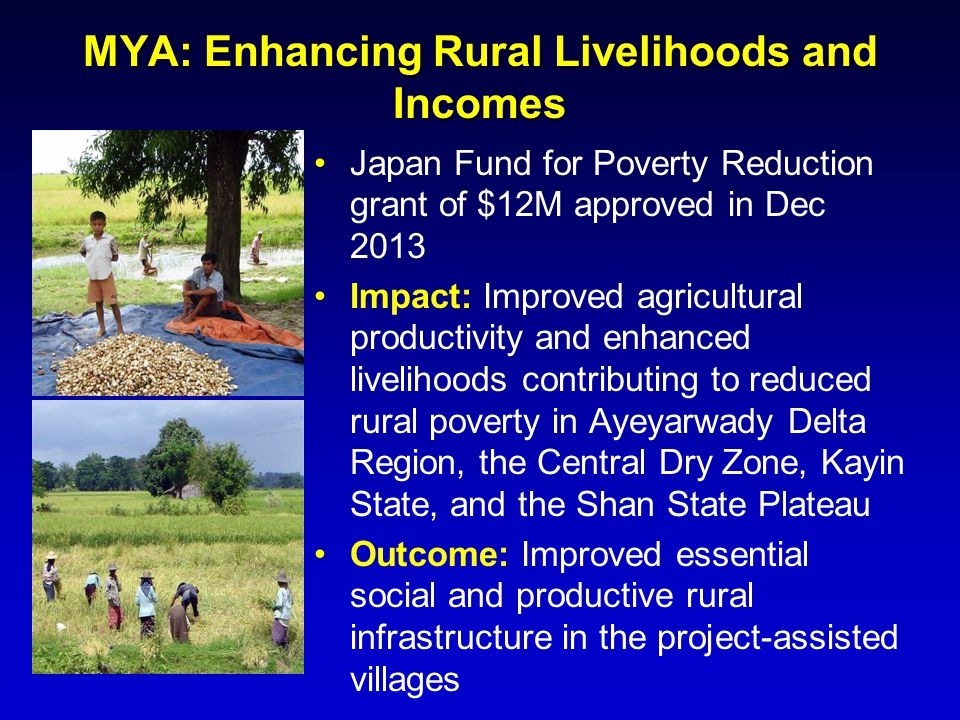 MYA: Enhancing Rural Livelihoods and Incomes Japan Fund for Poverty Reduction grant of $12M approved in Dec 2013 Impact: Improved agricultural product