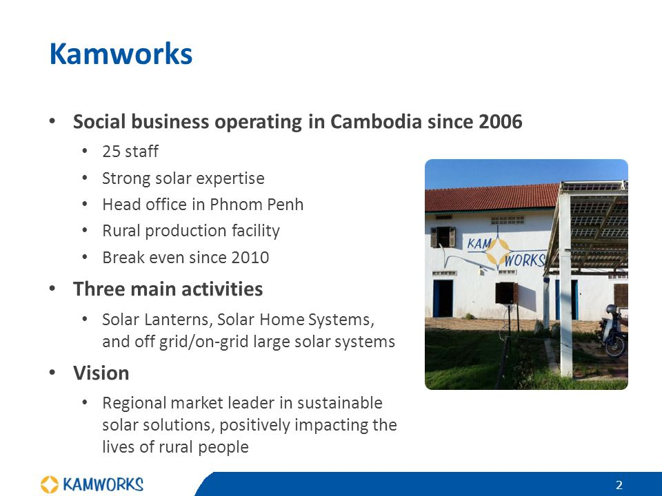 Kamworks Social business operating in Cambodia since 2006 25 staff Strong solar expertise Head office in Phnom Penh Rural production facility Break ev