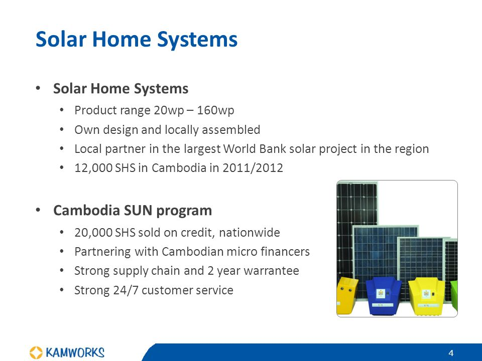 Solar Home Systems Product range 20wp – 160wp Own design and locally assembled Local partner in the largest World Bank solar project in the region 12,