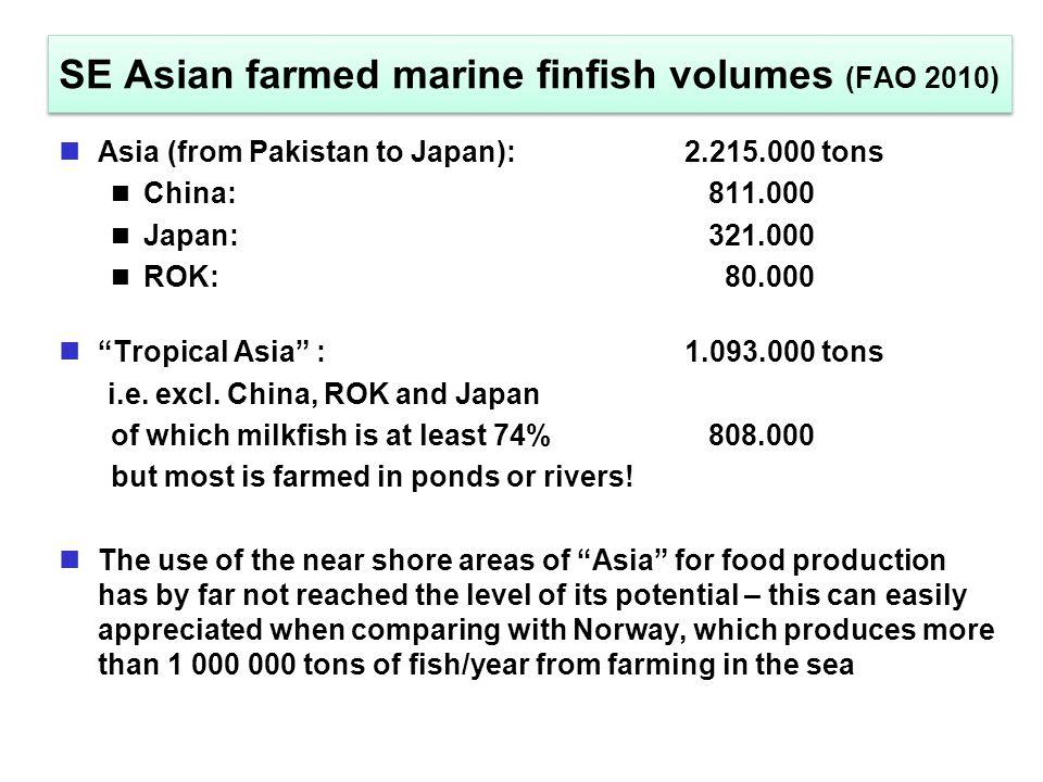 SE Asian farmed marine finfish volumes (FAO 2010) Asia (from Pakistan to Japan): 2.215.000 tons China: 811.000 Japan: 321.000 ROK: 80.000 Tropical Asia :1.093.000 tons i.e.