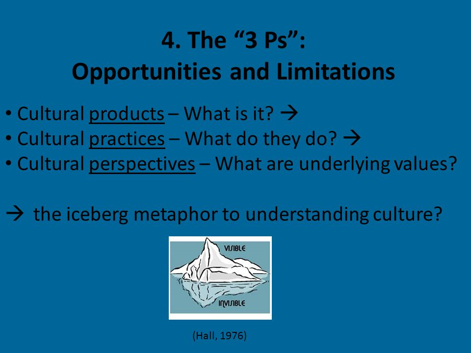 4. The 3 Ps : Opportunities and Limitations Cultural products – What is it.