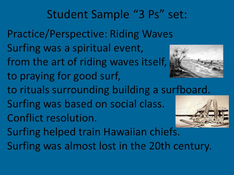 Practice/Perspective: Riding Waves Surfing was a spiritual event, from the art of riding waves itself, to praying for good surf, to rituals surrounding building a surfboard.