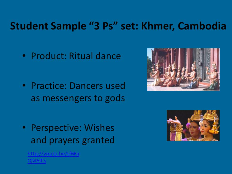 Product: Ritual dance Practice: Dancers used as messengers to gods Perspective: Wishes and prayers granted http://youtu.be/sf6Fa QM6ICs Student Sample