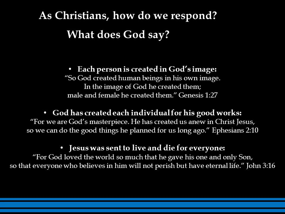 Each person is created in God's image: So God created human beings in his own image.