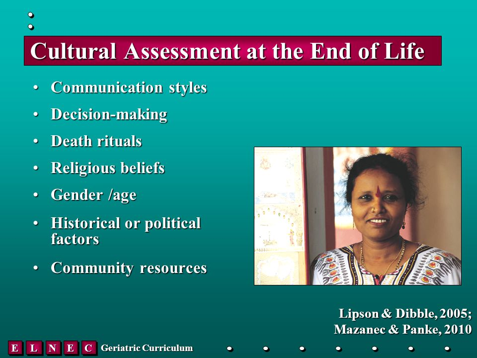 EELLNNEECC Geriatric Curriculum Cultural Assessment at the End of Life Communication stylesCommunication styles Decision-makingDecision-making Death ritualsDeath rituals Religious beliefsReligious beliefs Gender /ageGender /age Historical or political factorsHistorical or political factors Community resourcesCommunity resources Lipson & Dibble, 2005; Mazanec & Panke, 2010