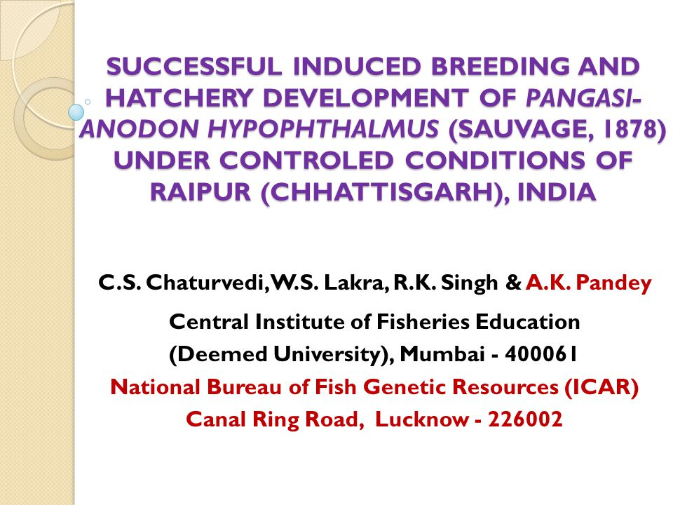 SUCCESSFUL INDUCED BREEDING AND HATCHERY DEVELOPMENT OF PANGASI- ANODON HYPOPHTHALMUS (SAUVAGE, 1878) UNDER CONTROLED CONDITIONS OF RAIPUR (CHHATTISGARH), INDIA C.S.