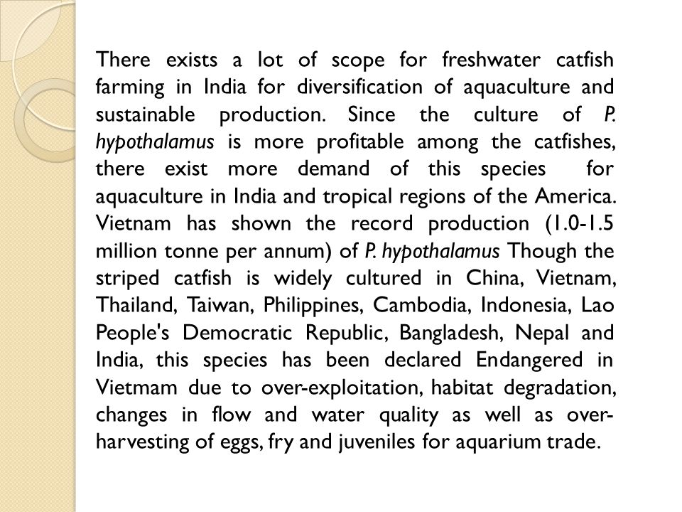 There exists a lot of scope for freshwater catfish farming in India for diversification of aquaculture and sustainable production.