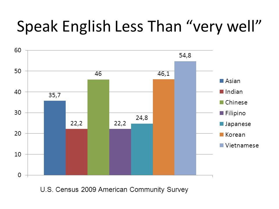 "Speak English Less Than ""very well"" U.S. Census 2009 American Community Survey"