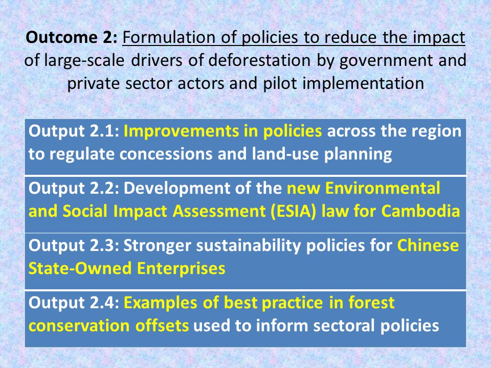 Outcome 2: Formulation of policies to reduce the impact of large-scale drivers of deforestation by government and private sector actors and pilot implementation Output 2.1: Improvements in policies across the region to regulate concessions and land-use planning Output 2.2: Development of the new Environmental and Social Impact Assessment (ESIA) law for Cambodia Output 2.3: Stronger sustainability policies for Chinese State-Owned Enterprises Output 2.4: Examples of best practice in forest conservation offsets used to inform sectoral policies