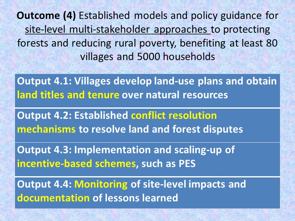 Outcome (4) Established models and policy guidance for site-level multi-stakeholder approaches to protecting forests and reducing rural poverty, benefiting at least 80 villages and 5000 households Output 4.1: Villages develop land-use plans and obtain land titles and tenure over natural resources Output 4.2: Established conflict resolution mechanisms to resolve land and forest disputes Output 4.3: Implementation and scaling-up of incentive-based schemes, such as PES Output 4.4: Monitoring of site-level impacts and documentation of lessons learned